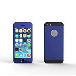 MoArmouz® FRONT and BACK Super Tempered Glass Screen Protector For iPhone 5s, iPhone 5, iPhone 5c, iPhone SE Screen Guard, Screen Protector - High Quality / HD /9H Hardness 3D Touch Compatible / Mobile Accessories / Screen Protectors (BLUE BLACK)