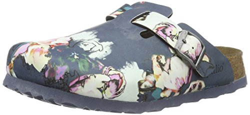 BirkenstockBoston Birko-Flor Softfootbed - Zoccoli Donna , Multicolore (Mehrfarbig (Painted Bloom Navy)), 37 normale