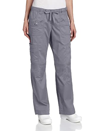 Dickies Scrubs Women's Petite Gen Flex Junior Fit Solid Stitch Cargo Pant, Pewter, X-Small