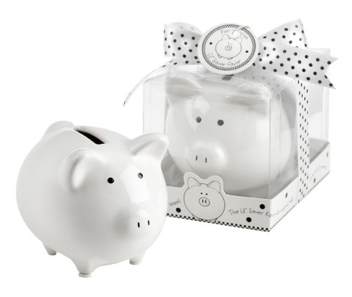 "Kate Aspen ""Li'L Saver Favor"" Ceramic Mini-Piggy Bank in Gift Box with Polka-Dot Bow"