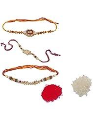 Ellegent Exports Red, Maroon, Golden Non-Precious Metal Rakhis For Men And Women (RK_088)