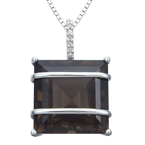 Sterling Silver Square Smoky Quartz and Diamond Accent Pendant Necklace, 18