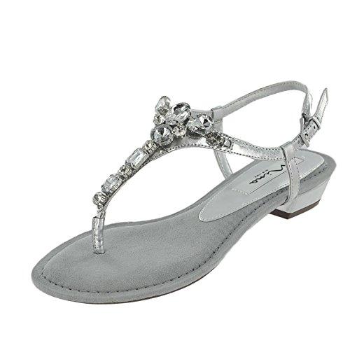 Nina Women's Kelisha-YY Dress Sandal, Silver, 7.5 M US