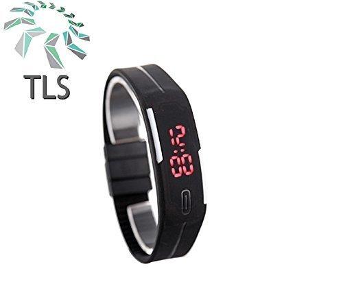 TLS Unisex TPU Band Black Digital Wrist Watch
