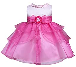 KID Collection Baby-Girls Ruffle Tiered Dress 12M Med Pink Fuchsia (Kid B802)