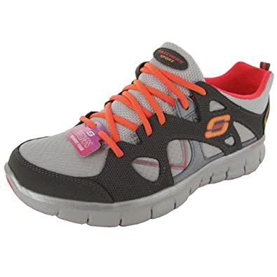 Skechers Womens Synergy - Memory Sole Training Shoe, Charcoal/Coral, US 6