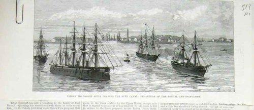 Suez Canal Indian Ship Bengal Oriflame Old Print 1878