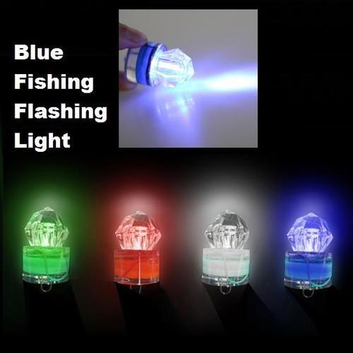 Deep Sea Underwater Diamond Fishing Flashing Light Bait Lure Strobe Blue LED