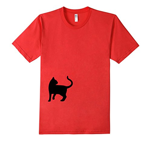 Mens-EmmaSaying-Dont-Look-Back-In-Anger-Cat-Silhouette-T-Shirt-Red