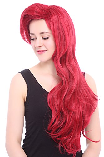 [L-email Womens Long Wavy Cosplay Wig Dark Red] (Little Mermaid Wig For Adults)