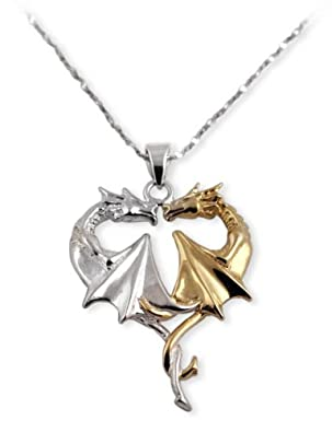 Dual Dragon Heart Gamer Necklace