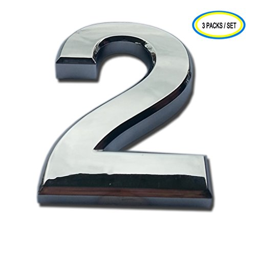 3 Packs iMustech 2-3/4 Inch Silver 3D Self-stick Number with Reflective Silver Plating, For Door Number, Mailbox Number, House Number, Modern Hotel Number, Car Sticker (2 Silver) (Mailbox Number Plate compare prices)