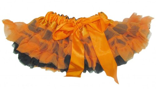 Youth Child Reversible Satin And Chiffon Pettiskirt Tutu (Infant, Black Orange) front-692053