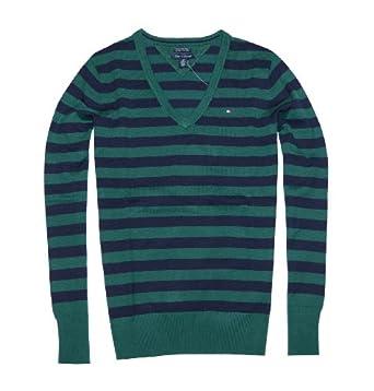 Tommy Hilfiger Women Striped Pima Cotton Logo V-Neck Sweater (M, Green/navy)