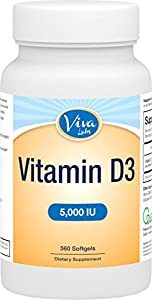 Viva Labs #1 High Potency Vitamin D3 5000 IU in Non-GMO Olive Oil for Enhanced Absorption, 360 Softgels
