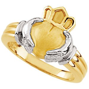 14K Yellow/White Gold 13.25mm Claddagh Ring: Gents Size: 7