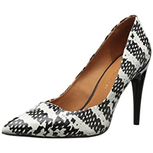 Rebecca Minkoff Women's Cameron Dress Pump,Black/White Snake Print,7 US/7 M US