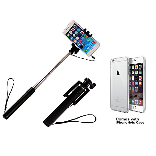AmazingLifestyle Self-portrait Monopod Extendable Selfie Stick with Built-in Remote Shutter Audio Cable for iPhone 6S 6, iPhone 5S 5C 5, Samsung Galaxy S6 S5 S4 and Other 3.5 Inch Android Phones System. Bundled with iPhone 6 6s Case. Black