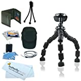 Accessory Kit For Kodak PlaySport (Zx3) HD Waterproof Pocket Video Camera Includes 7-Inch Spider Flexible Tripod + Case, Mini Tripod, Neck Strap, Memory Card Wallet, Screen Protectors & Cleaning Fluid with Cloth + BP Microfiber Cloth