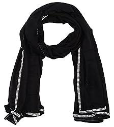Fabkart Women's Synthetic Dupatta (Cottondublackrtk_Black_Free size)
