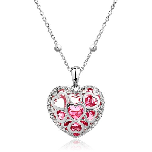 Nevi Swarovski Elements Red Heart Crystal Charm Pendant for Women