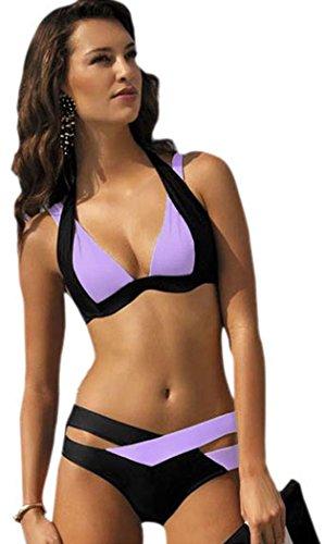 if-feel-womens-sexy-purple-black-double-color-criss-cross-2-piece-padded-push-up-bandage-bikini-swim