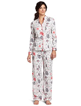 White Orchid Women's Aspen Lodge Capri Pajama Set, Light Grey Print, Medium
