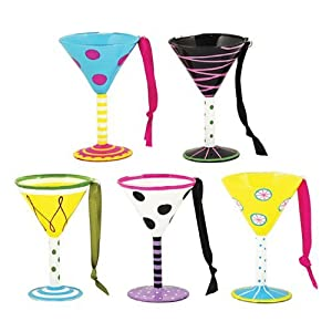 Painted Assorted Martini Glass Ornaments