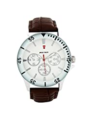 Swiss Trend Elegant White Dial Mens Watch With Brown Leather Strap(Artshai-1629-E...