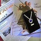 Sapphire Cubic Zirconium & Swarovski Crystal Heart of the Ocean Necklace Titanic Prop Replica with Ticket Poster