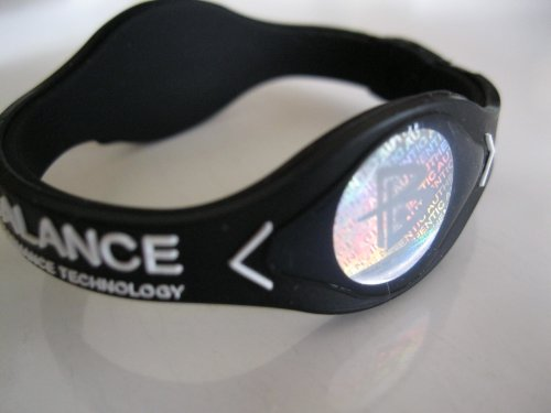 Power Balance Silicone Wristband Bracelet Small Black W/White Letters (Power Balance White Black compare prices)