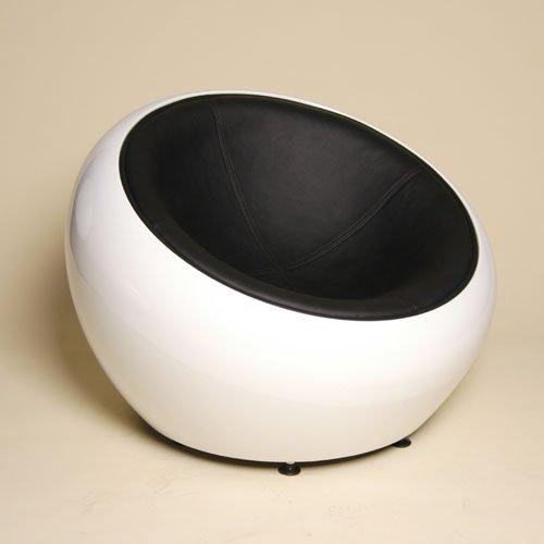 DESIGN LOUNGE BALL SCHALEN SESSEL retro möbel stuhl C12 weiss-schwarz