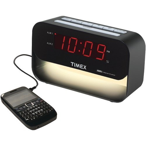 Timex Decorative XBBU Dual Alarm Clock with USB Charging and Night Light (Black)