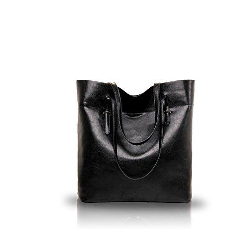 Nicole&Doris 2016 neue wilde Temperament große Kapazität Öl Lederhandtaschen modische Frauen Geldbeutel(Black)