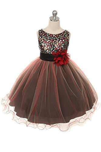 Flower Girls Dress Multi Sequin Tulle Dress Beaded Girl 4 Red