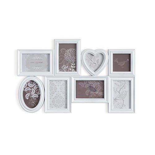 MONTEMAGGi Portafoto multiplo da parete a 8 cornici in pvc decorato in stile shabby chic. Porta foto bianco invecchiato con toni shabby. Dimensioni: 60x3x40 cm