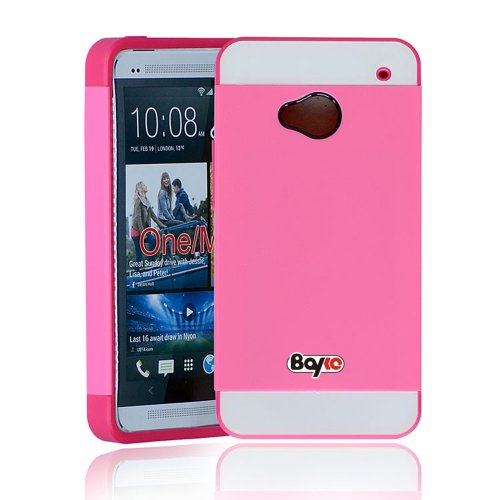#1  Bayke Brand / HTC ONE M7 (At&t / Sprint / T-Mobile / Unlocked) Hybrid TPU 2PC Layered Hard Case Rubber Bumper Armor Case with Inner Shell (Hot Pink)