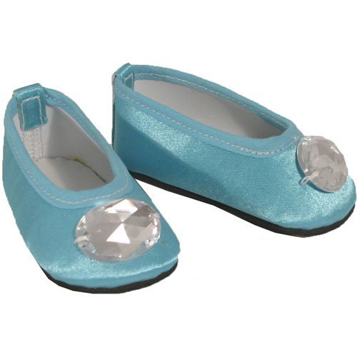 American Doll Shoes for 18 Inch Dolls, Turquoise Jeweled Toe Flats Slip On Shoes, 1 Pr. Satin Turquoise Doll Shoes
