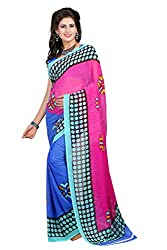 Pruthu Georgette Sari with Blouse Piece (pd_168_Pink_Blue)
