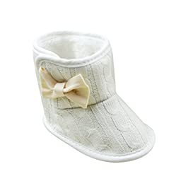 Norbi Winter Baby Warm Toddler Boots Bow Booties High Boots White