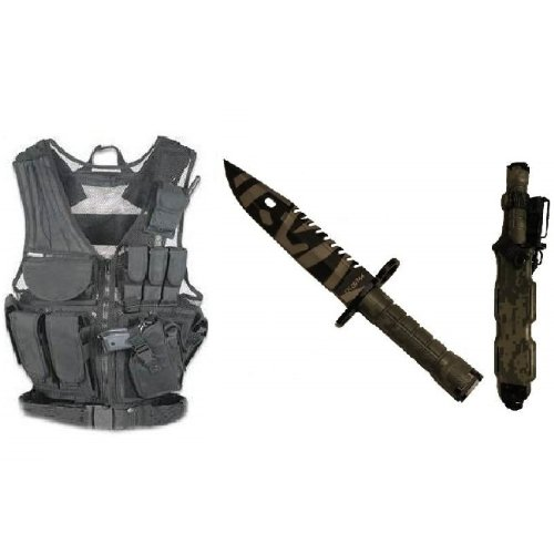Ultimate Arms Gear Stealth Black Lightweight Edition Tactical Scenario Military-Hunting Assault Vest W/ Right Handed Quick Draw Pistol Holster + Acu Army Digital Camo Camouflage Special Forces Series M9 M-9 Military Sawback Survival Tigerstripe Tiger Stri