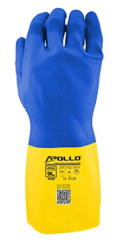 Apollo Performance Chemical Resistant Gloves 2053, Heavy Duty Neoprene/Latex Exterior, Flock Lined 24 mil Glove, Featuring Quick Response System and Instant QR Code Access, 1 Pair, Large, Blue/Yellow