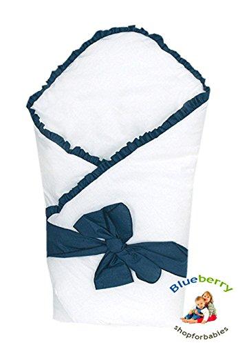 LUXURY WARM NEWBORN Swaddle Wrap Blanket, duvet, Sleeping Bag satin cotton (Blue)