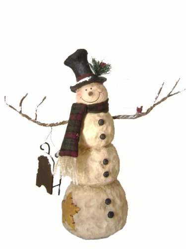 craft-outlet-papier-mache-snowman-figurine-1525-inch