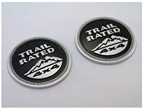 Jeep Trail Rated 4X4 Nameplate Emblem Wrangler Grand Cherokee Liberty 1Set(2Pcs) (Black)