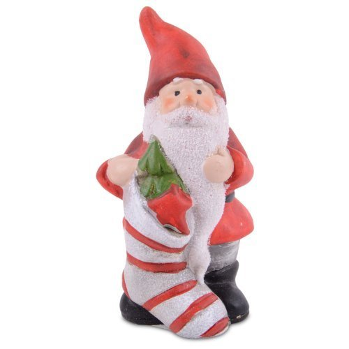 Terracotta Santa Clause with Christmas Stocking Festive Home Ornament
