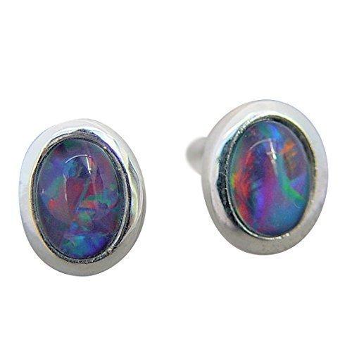 Michel clous d'oreilles pour femme en argent 925 sertie d'une opale triplette 7 x 5 mm (4470)