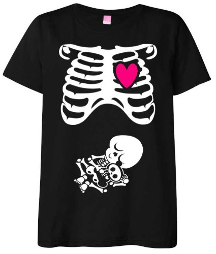 Halloween Maternity T-Shirt Costume Pregnant Skeleton X-Ray Rib Cage and Baby