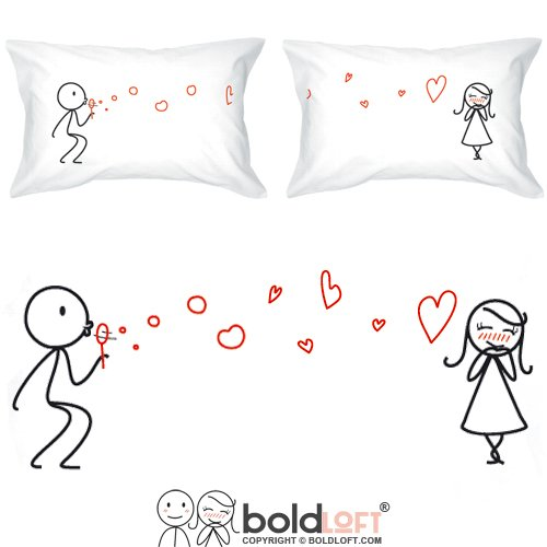 BOLDLOFT From My Heart to Yours Couples Pillowcases- Christmas Gifts for Her, Gifts for Him, for Boyfriend, for Girlfriend, His and Hers Gifts, Couples Gifts, Valentines Day, Anniversary, Relationship