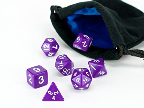 Polyhedral Dice Set Purple Opaque (solid) | 7 Piece | PRISTINE Edition | FREE Carrying Bag | Hand Checked Quality With | Money Back Guarantee